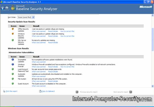 Basline Security Analyzer showing Security update scan results