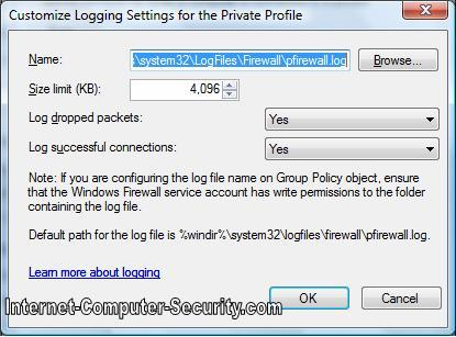 Customising logging settings for Windows Vista Advanced Firewall
