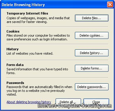 How to delete browsing history in Internet explorer