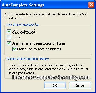 Windows Auto complete Inernet Explorer settings